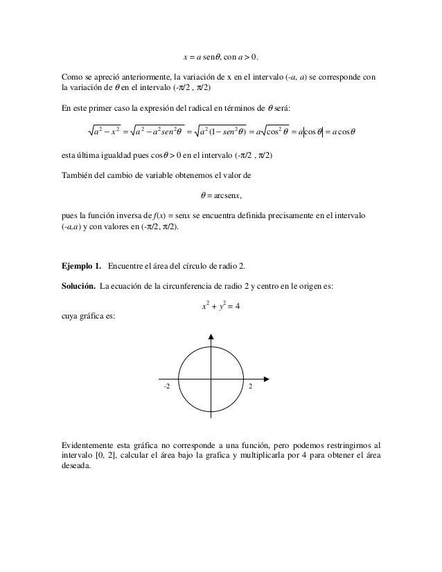 x = a senθ, con a > 0.Como se apreció anteriormente, la variación de x en el intervalo (-a, a) se corresponde conla variac...