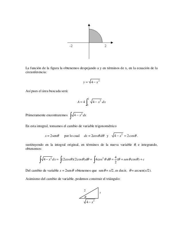 La función de la figura la obtenemos despejando a y en términos de x, en la ecuación de lacircunferencia:                 ...