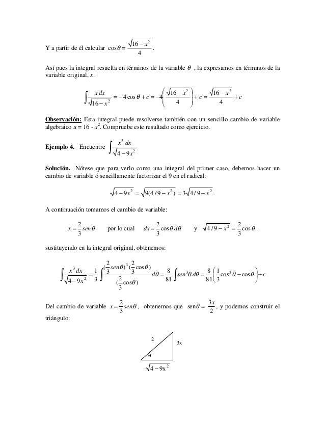 16 − x 2Y a partir de él calcular cosθ =                        .                                                 4Así pue...