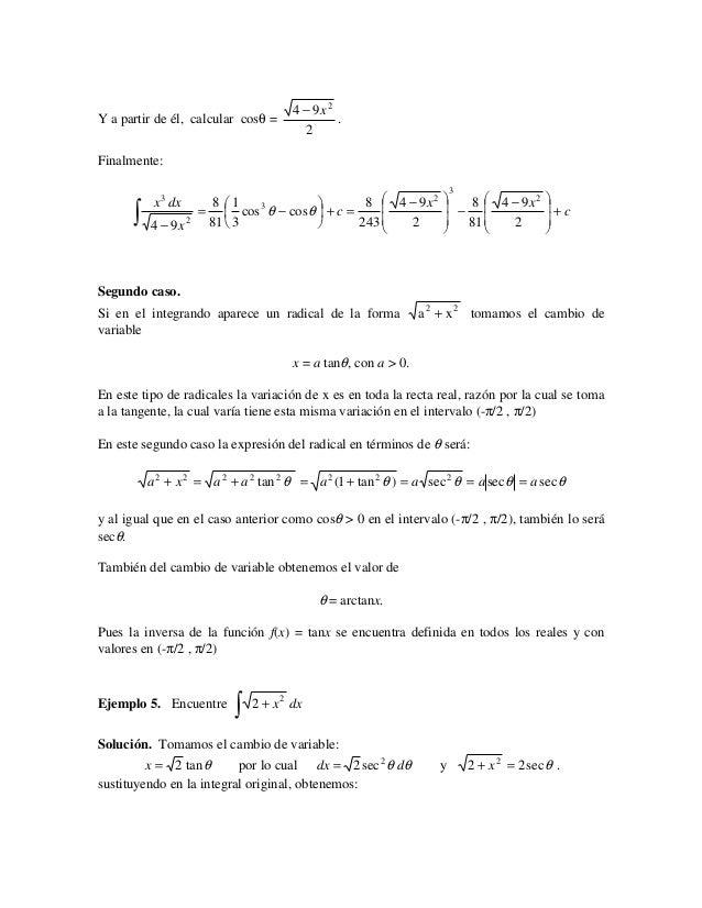 4 − 9x2Y a partir de él, calcular cosθ =             .                                        2Finalmente:                ...