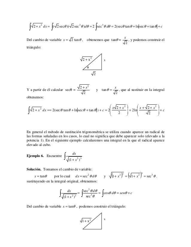 ∫               ∫                                        ∫     2 + x 2 dx = ( 2 secθ )( 2 sec 2 θ )dθ = 2 sec 3 θ dθ = 2(s...