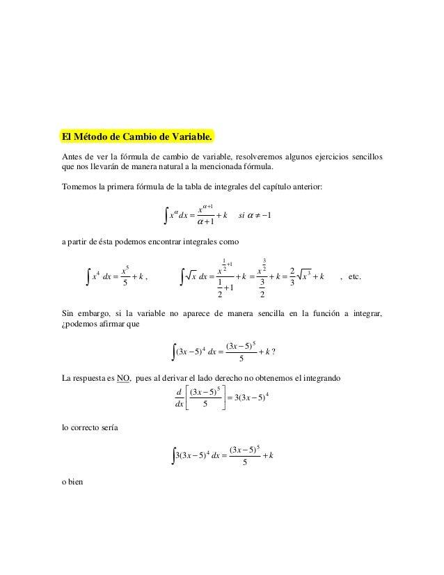 El Método de Cambio de Variable.Antes de ver la fórmula de cambio de variable, resolveremos algunos ejercicios sencillosqu...