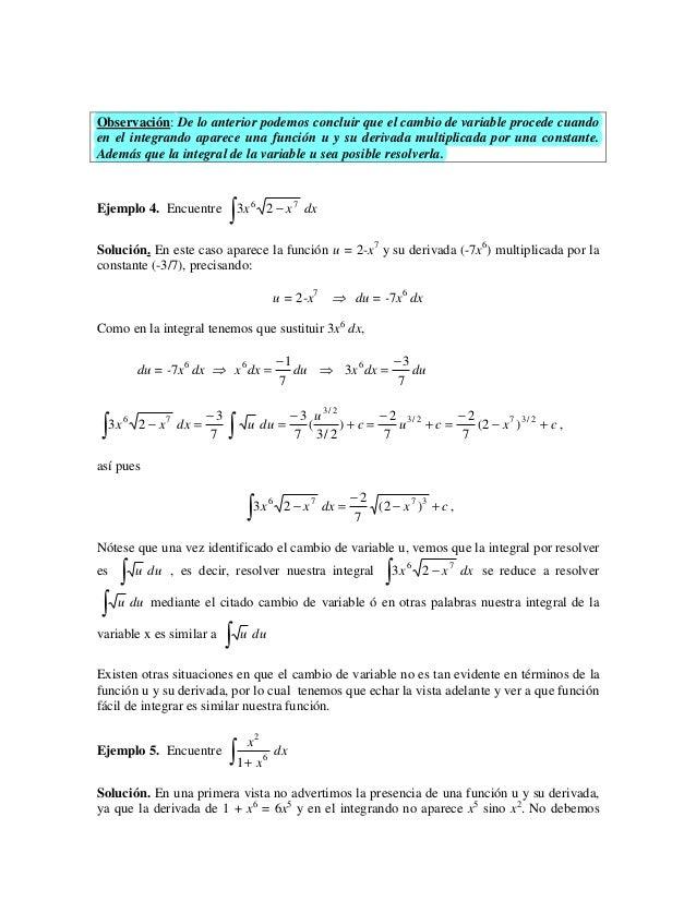 Observación: De lo anterior podemos concluir que el cambio de variable procede cuandoen el integrando aparece una función ...