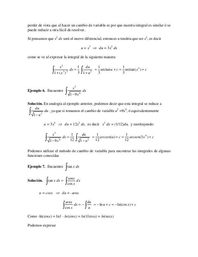 perder de vista que al hacer un cambio de variable es por que nuestra integral es similar ó sepuede reducir a otra fácil d...