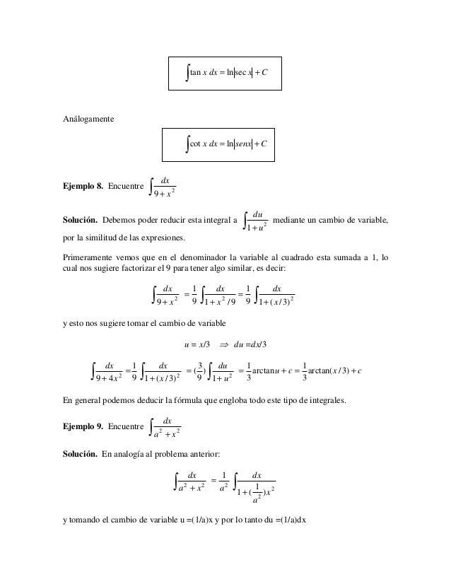 ∫ tan x dx = ln sec x + CAnálogamente                                                 ∫ cot x dx = ln senx + C            ...