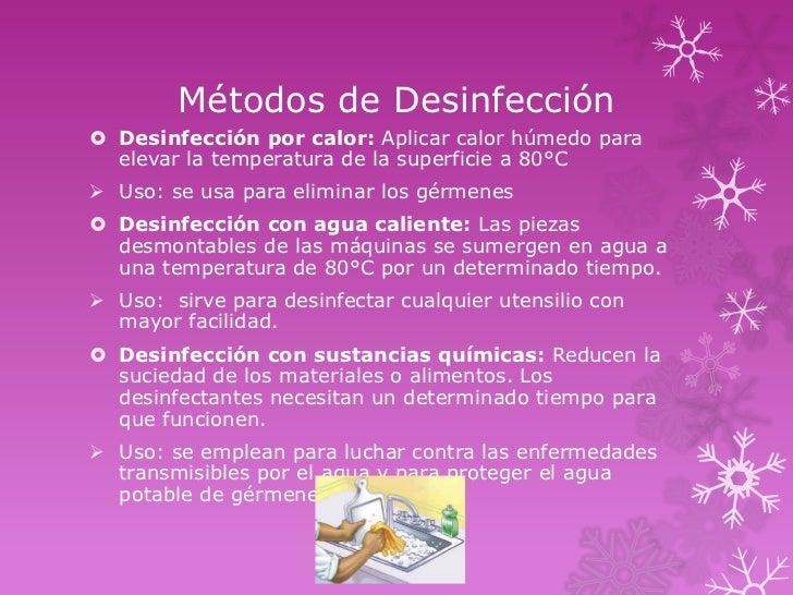 M todos de limpieza desinfecci n y esterilizaci n utilizados for Limpieza y desinfeccion de alimentos