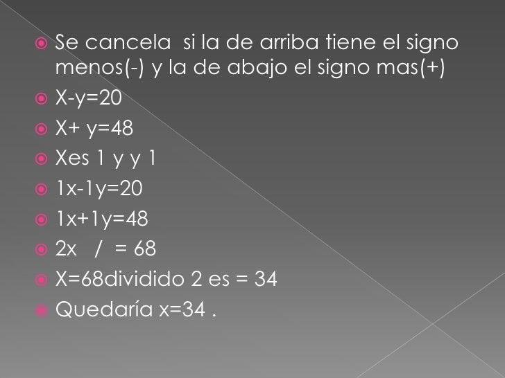 Se cancela  si la de arriba tiene el signo menos(-) y la de abajo el signo mas(+)<br />X-y=20<br />X+ y=48<br />Xes 1 y y ...