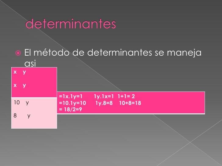 determinantes<br />El método de determinantes se maneja asi<br /><br />=<br />