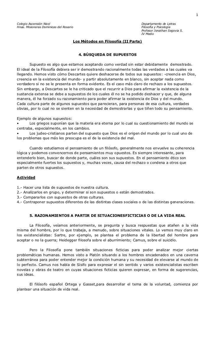 Colegio Ascensión NicolDepartamento de Letras<br />Hnas. Misioneras Dominicas del RosarioFilosofía y Psicología<br />Profe...