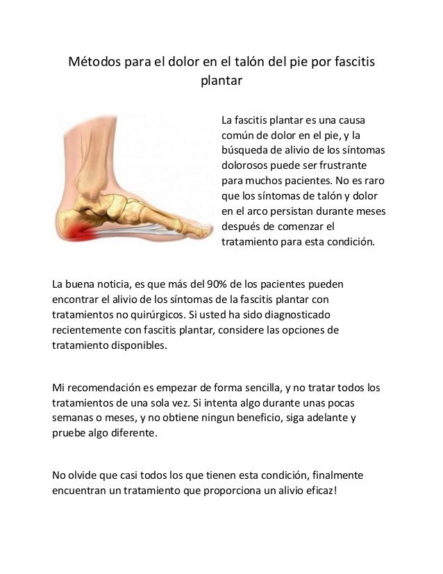 Metodos Para El Dolor En El Talon Del Pie Por Fascitis Plantar