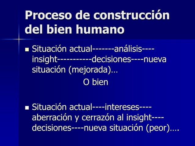 Proceso de construcción del bien humano  Situación actual-------análisis---- insight-----------decisiones----nueva situac...