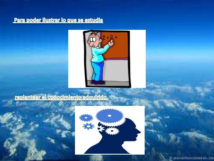 Para poder ilustrar lo que se estudia<br />replantear el conocimiento adquirido.<br />