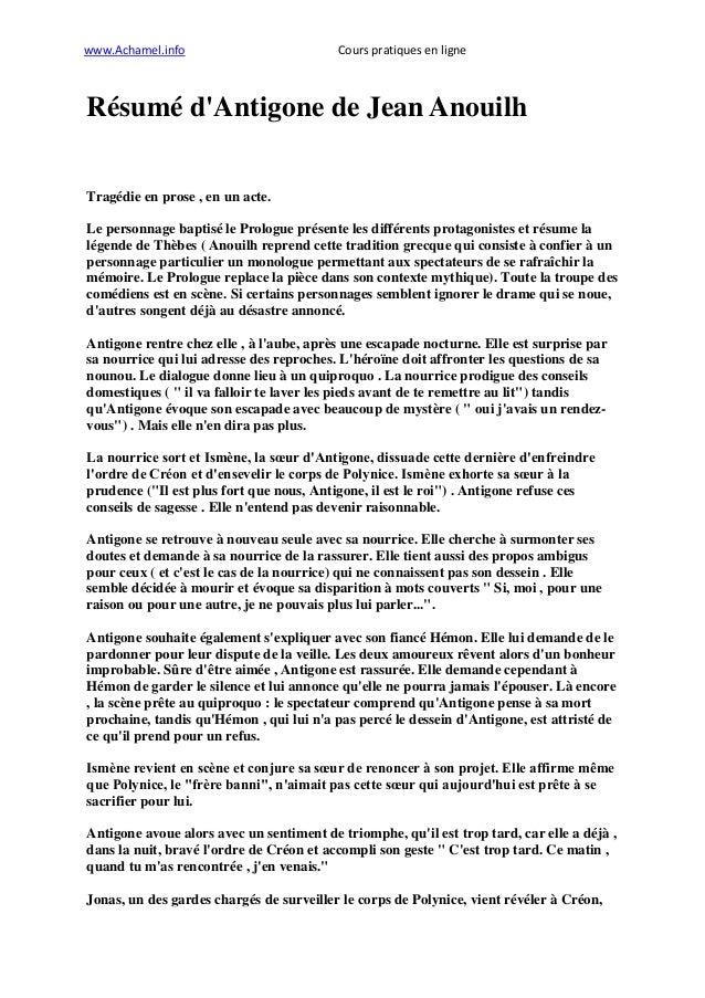 www.Achamel.info                          Cours pratiques en ligneRésumé dAntigone de Jean AnouilhTragédie en prose , en u...