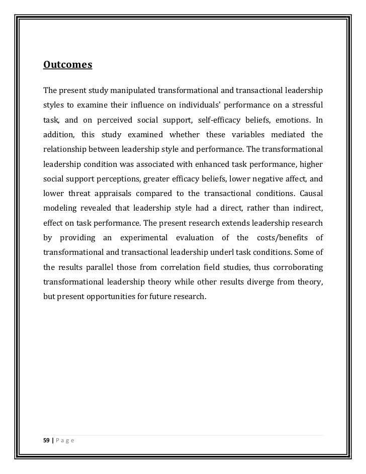 leadership style and its impact on The present study attempts to investigate the most preferred leadership behaviors among the transformational and transactional leadership styles and its impact on employees' organizational commitment in bhel.