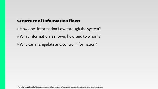 For reference: Donella Meadows, http://donellameadows.org/archives/leverage-points-places-to-intervene-in-a-system/ Rules ...