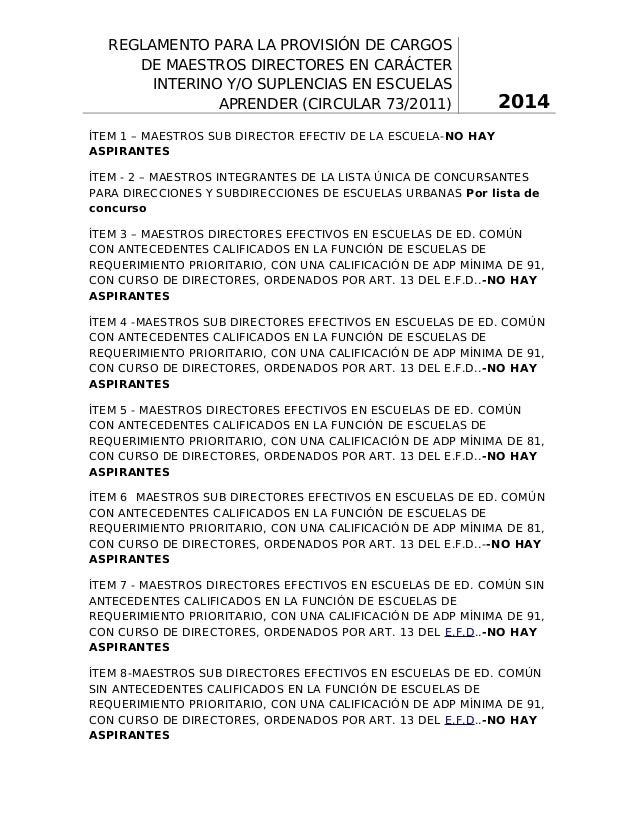 REGLAMENTO PARA LA PROVISIÓN DE CARGOS DE MAESTROS DIRECTORES EN CARÁCTER INTERINO Y/O SUPLENCIAS EN ESCUELAS APRENDER (CI...