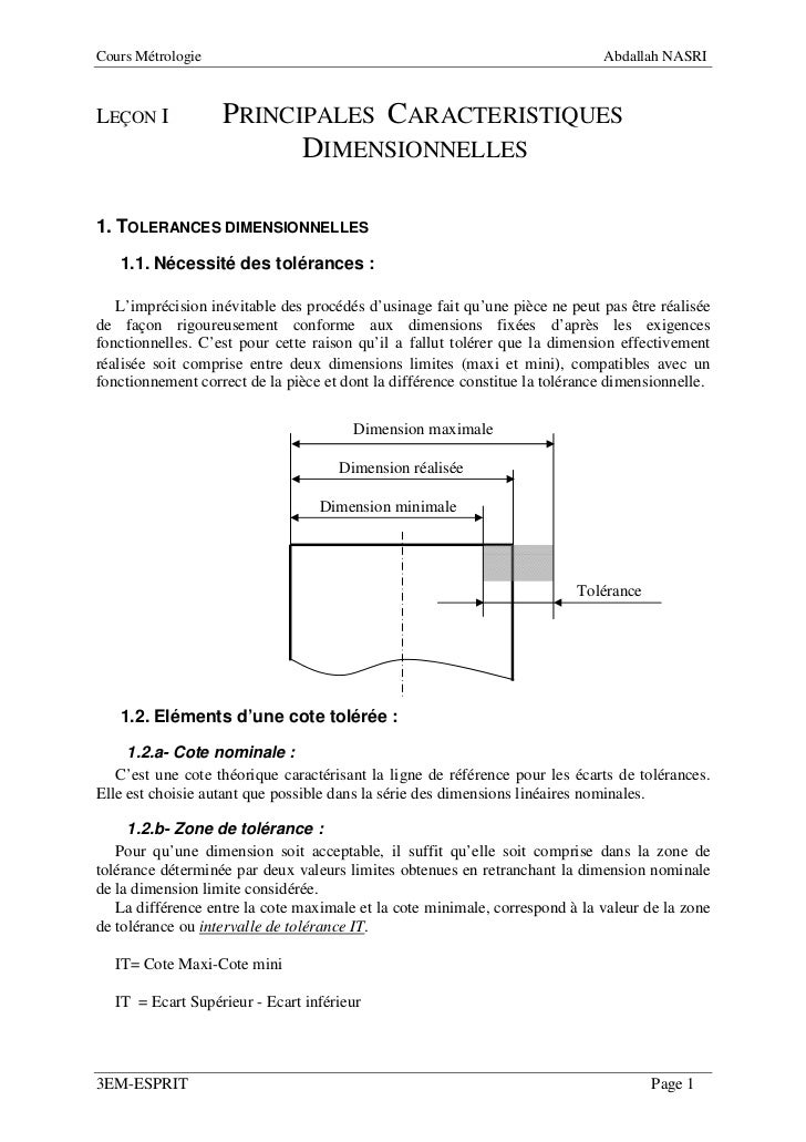 Cours Métrologie                                                              Abdallah NASRILEÇON I            PRINCIPALES...