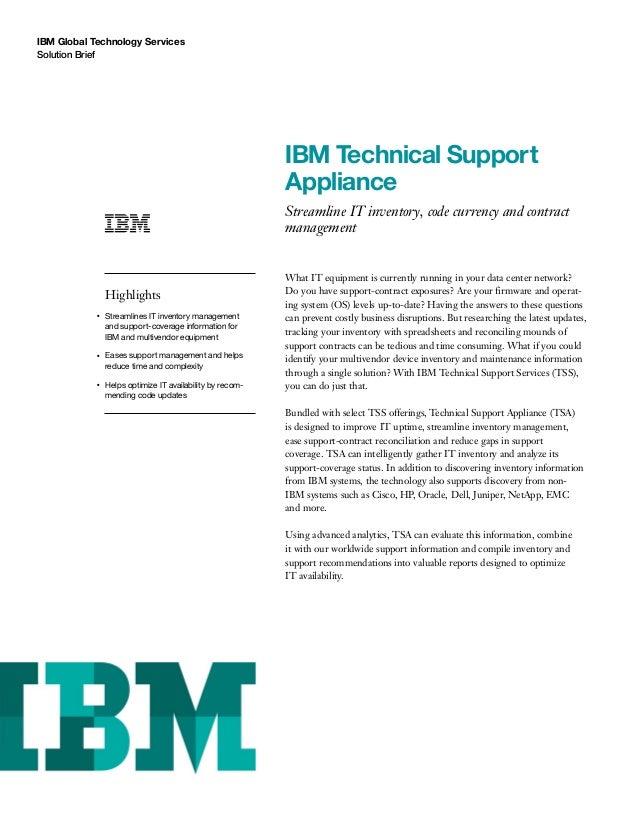 Ibm Technical Support Appliance
