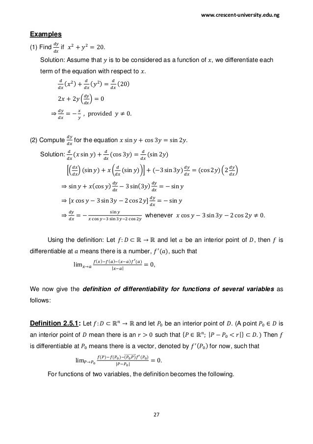 Lecture notes on MTS 201 (Mathematical Method I)