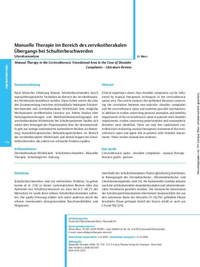 Einleitung Schulterbeschwerden sind ein verbreitetes Problem. So geben Luime et al. [14] in ihrem systematischen Review üb...