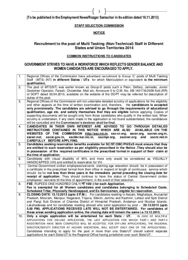1  (To be published in the Employment News/Rozgar Samachar in its edition dated 16.11.2013) STAFF SELECTION COMMISSION NOT...