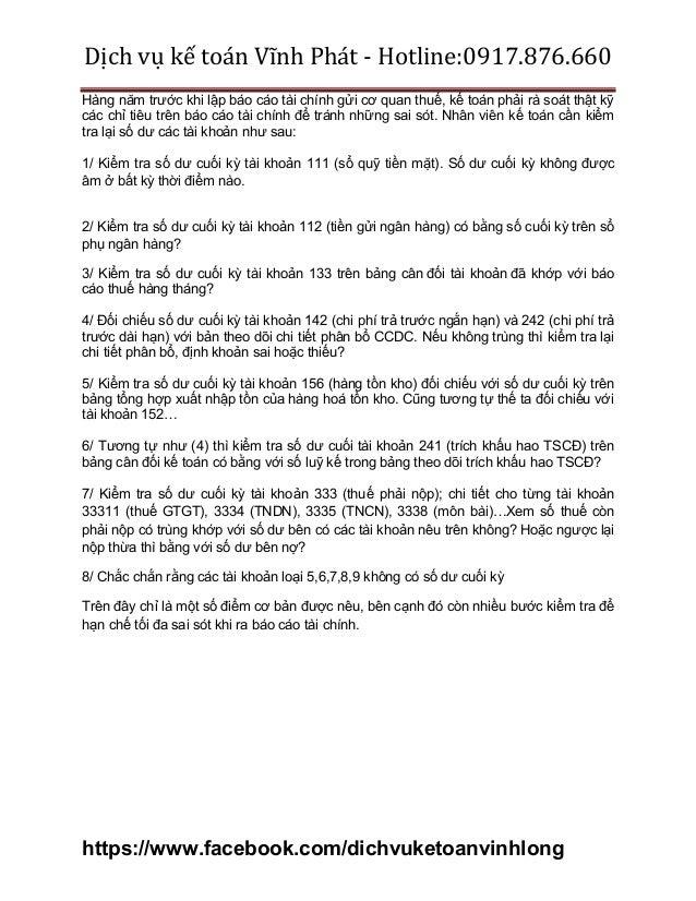Dịch vụ kế toán Vĩnh Phát - Hotline:0917.876.660 https://www.facebook.com/dichvuketoanvinhlong Hàng năm trước khi lập báo ...