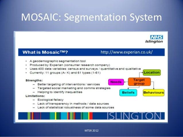 MOSAIC: Segmentation System                        http://www.experian.co.uk/            MTSR 2012