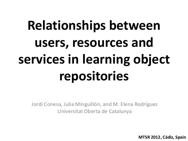 Relationships between   users, resources andservices in learning object       repositories  Jordi Conesa, Julia Minguillón...