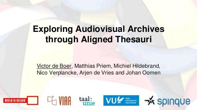 Exploring Audiovisual Archives through Aligned Thesauri Victor de Boer, Matthias Priem, Michiel Hildebrand, Nico Verplanck...