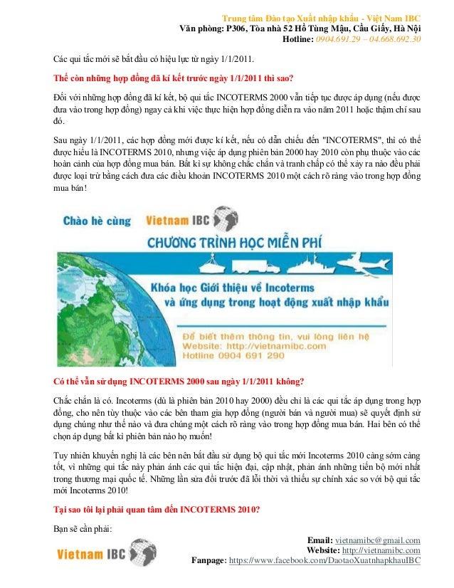 Trung tâm Đào tạo Xuất nhập khẩu - Việt Nam IBC  Văn phòng: P306, Tòa nhà 52 Hồ Tùng Mậu, Cầu Giấy, Hà Nội  Hotline: 0904....