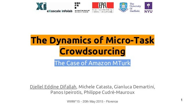 The Dynamics of Micro-Task Crowdsourcing The Case of Amazon MTurk Djellel Eddine Difallah, Michele Catasta, Gianluca Demar...