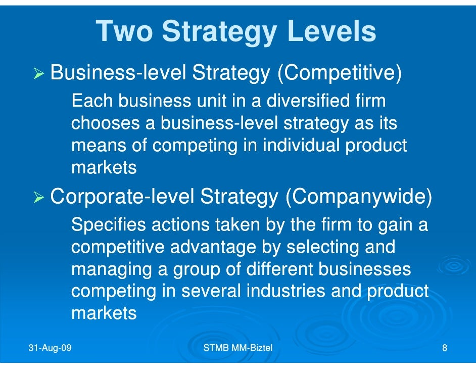business level strategy corporate level strategy
