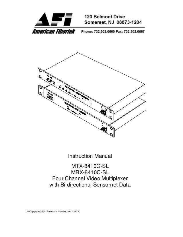 American Fibertek MTX-8410C-SL User Manual