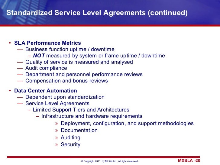 ... 20. Standardized Service Level Agreements ...