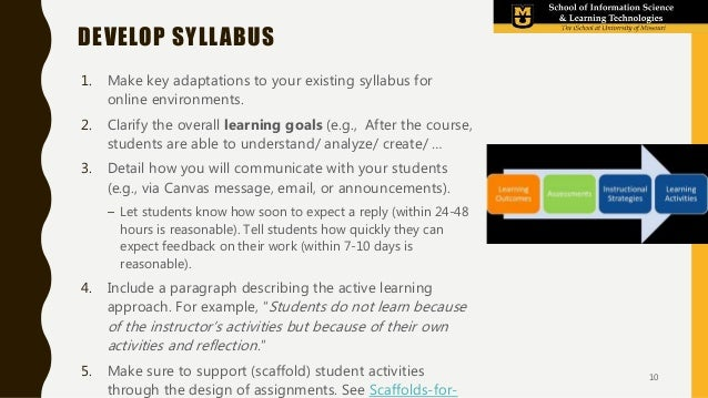 1. Make key adaptations to your existing syllabus for online environments. 2. Clarify the overall learning goals (e.g., Af...
