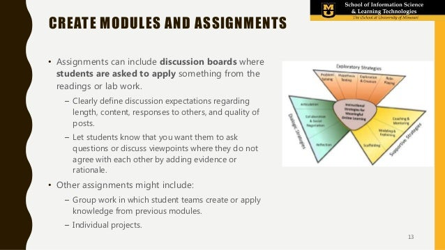 • Assignments can include discussion boards where students are asked to apply something from the readings or lab work. – C...