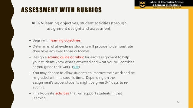 ASSESSMENT WITH RUBRICS ALIGN learning objectives, student activities (through assignment design) and assessment. – Begin ...