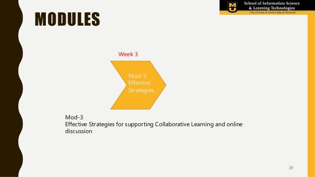 MODULES Mod-3 Effective Strategies for supporting Collaborative Learning and online discussion Week 3 Mod-2 Your first ide...