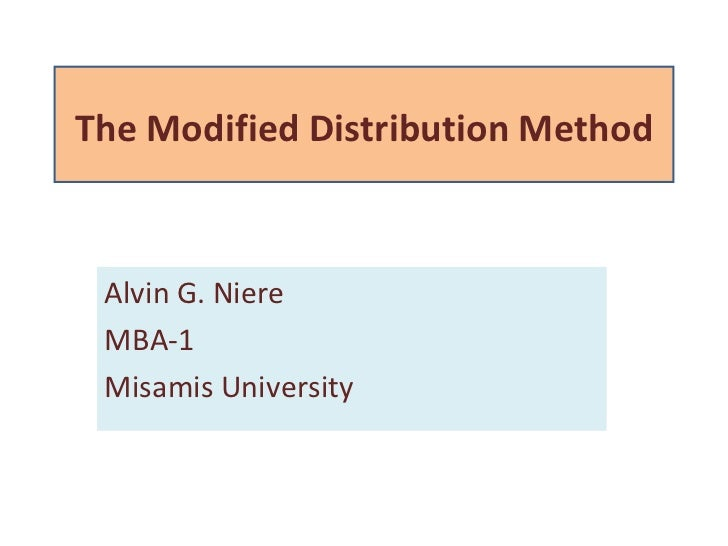 Modified Distribution Method