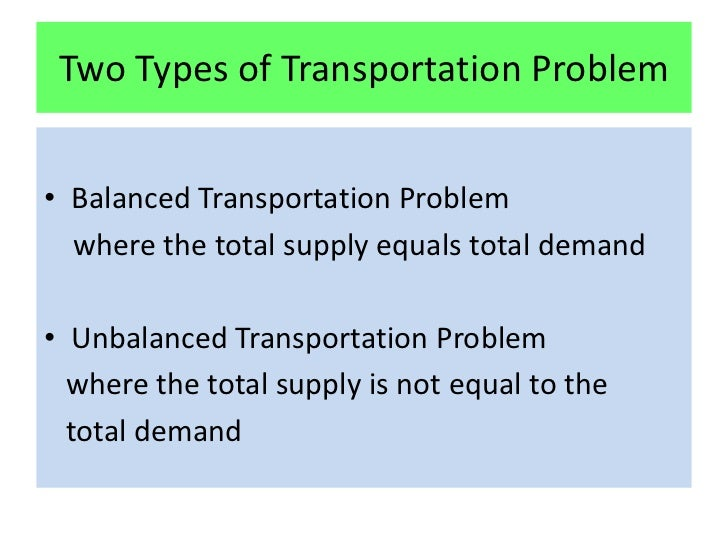 transportation problem research paper