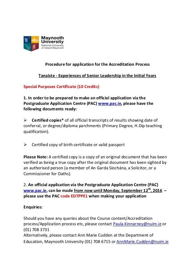 Procedure for application for the Accreditation Process Tanaiste - Experiences of Senior Leadership in the Initial Years S...