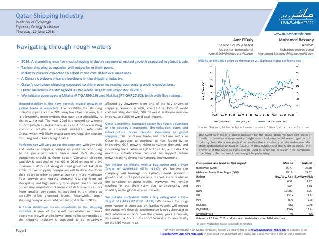 Qatar shipping industry sector note including the initiation