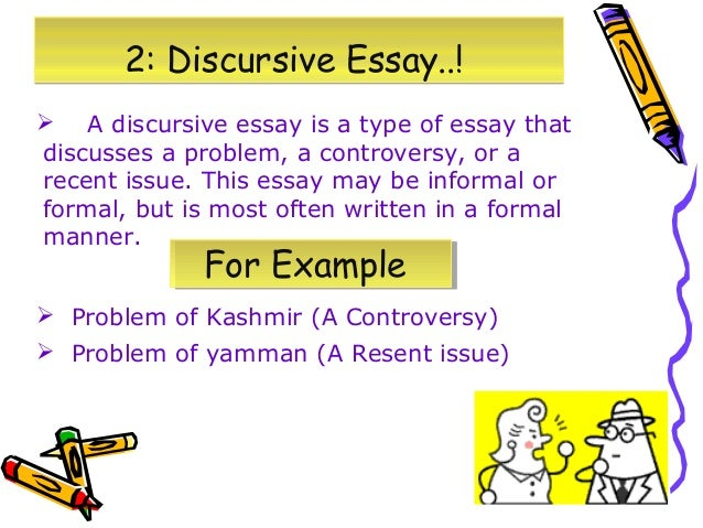 difference between argumentative discursive essays Initial argument – this should be the side of the argument that you do not personally agree with, although it must still be discussed and fully evidenced in order to present a balanced argument aim to discuss between 2-points (two in significant depth or 4 key points succinctly.