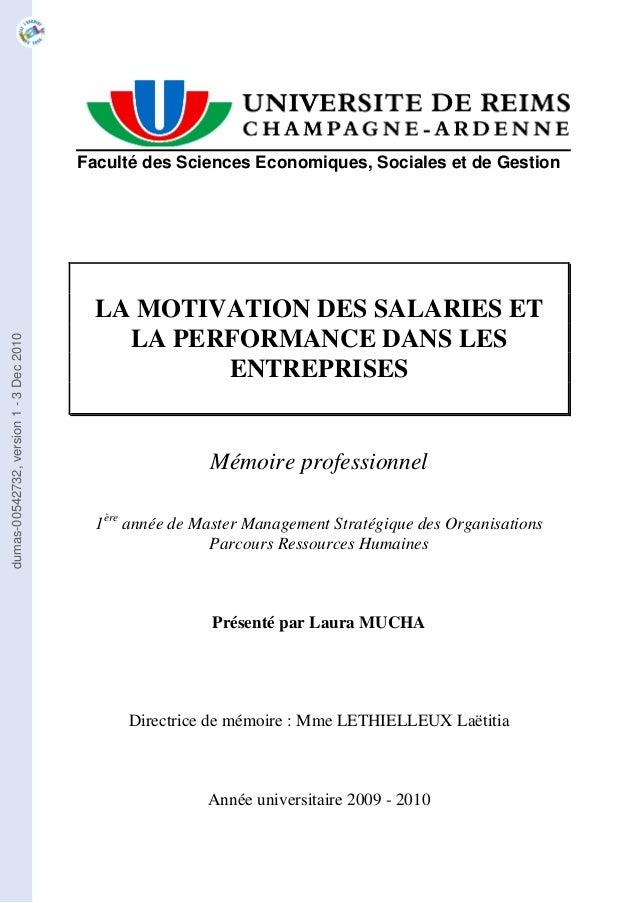 Faculté des Sciences Economiques, Sociales et de Gestion                                          LA MOTIVATION DES SALARI...