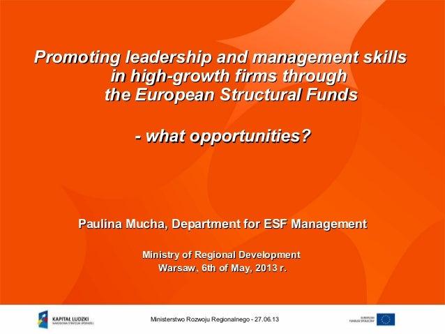 27.06.13Ministerstwo Rozwoju Regionalnego - Promoting leadership and management skillsPromoting leadership and management ...