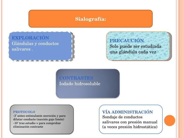 Sialografía: PRECAUCIÓN Solo puede ser estudiada una glándula cada vez EXPLORACIÓN Glándulas y conductos salivares . VÍA A...
