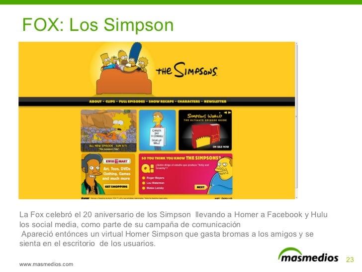www.masmedios.com La Fox celebró el 20 aniversario de los Simpson  llevando a Homer a Facebook y Hulu los social media, co...