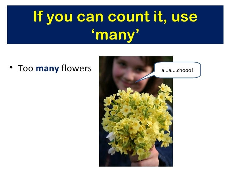 If you can count it, use              'many'• Too many flowers     a...a....chooo!