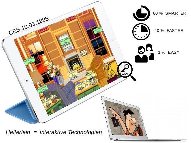 Helferlein = interaktive Technologien 60 % SMARTER 40 % FASTER 1 % EASY CES 10.03.1995