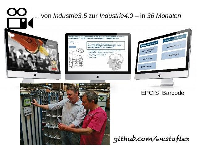 … von Industrie3.5 zur Industrie4.0 – in 36 Monaten github.com/westaflex EPCIS Barcode